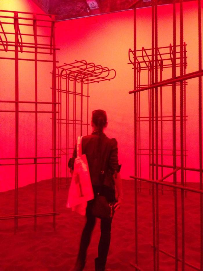 """<p style=""""text-align: justify;""""><span style=""""color: #000000; font-family: calibri; font-size: 12px;"""">A photograph of myself, taken by Tiffany Chung, walking into the Kosovo Pavilion at the Arsenale.</span>"""