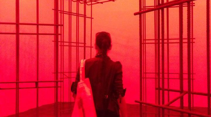 A photograph of myself, taken by Tiffany Chung, walking into the Kosovo Pavilion at the Arsenale.